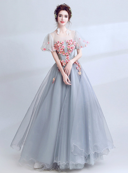 In Stock:Ship in 48 Hours Gray Tulle Appliques Long Wedding Dress