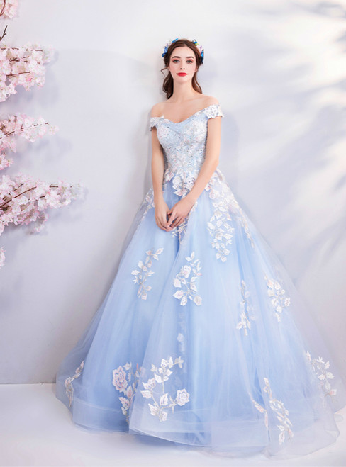 In Stock:Ship in 48 Hours Blue Ball Gown Tulle Appliques Wedding Dress