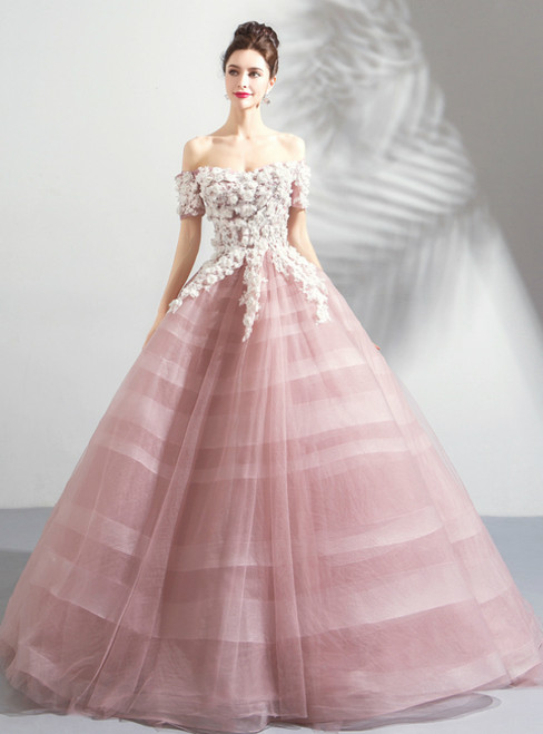 In Stock:Ship in 48 Hours Pink Off the Shoulder Appliques Wedding Dress