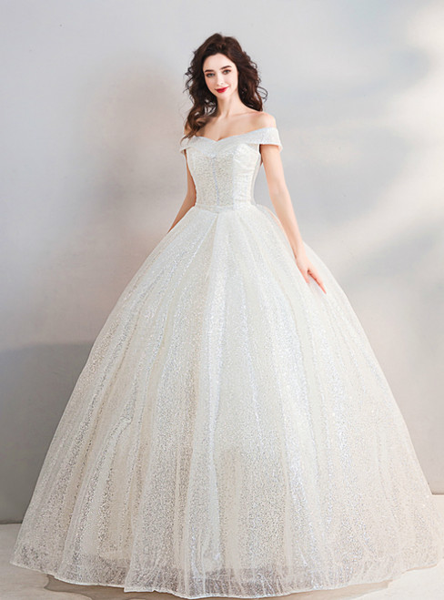 In Stock:Ship in 48 Hours Ball Gown Sequins Off The Shoulder Wedding Dress