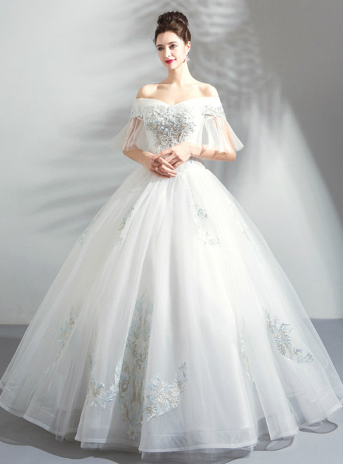 In Stock:Ship in 48 Hours White Ball Gown Tulle Wedding Dress With Pearls