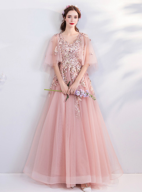 In Stock:Ship in 48 Hours Pink Tulle Embroidery Weddign Dress