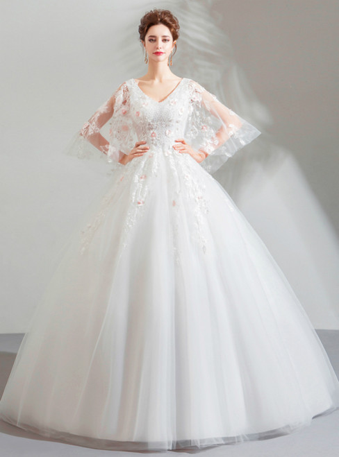In Stock:Ship in 48 Hours White Tulle V-neck Wedding Dress With beading