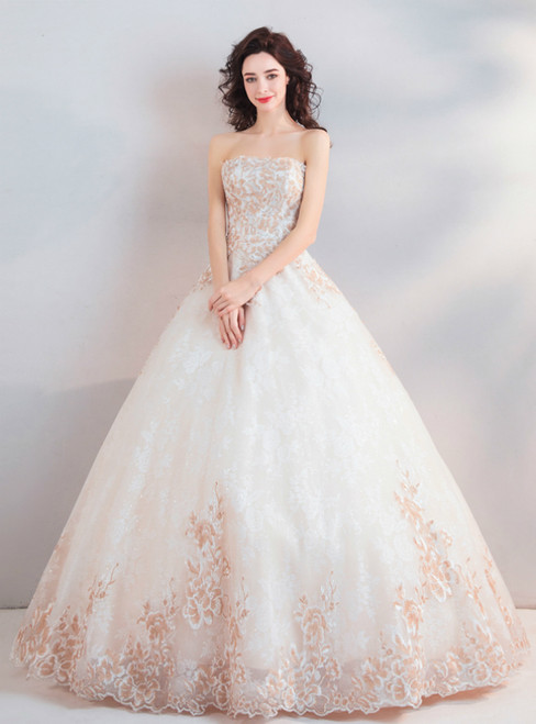 In Stock:Ship in 48 Hours Apricot White Tulle Embroidery Weddign Dress