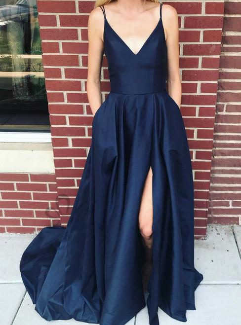Navy Blue Double Straps Satin Side Slit Prom Dress Pocket