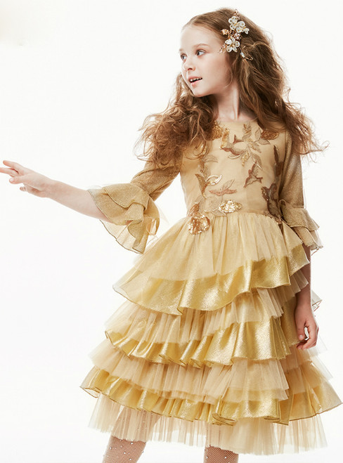 In Stock:Ship in 48 Hours Gold Tulle Half Sleeve Flower Girl Dress