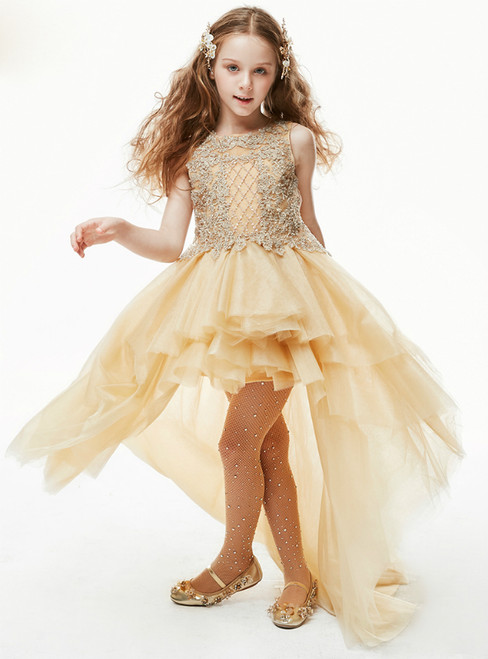 In Stock:Ship in 48 Hours Gold Hi Lo Tulle Appliques Flower Girl Dress