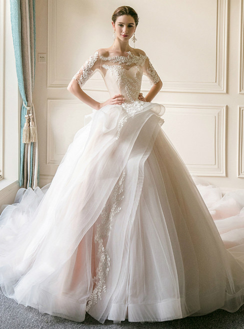 White Ball Gown Off The Shoulder Short Sleeve Tulle Wedding Dress