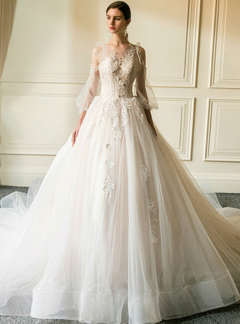 Champagne Tulle Appliques Long Sleeve Wedding Dress With Train
