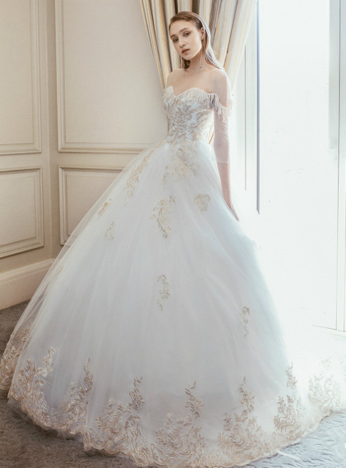 White Ball Gown Tulle Lace Appliques Short Sleeve Backless Wedding Dress