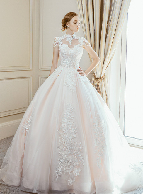 Champagne Ball Gown High Neck Backless Appliques Wedding Dress