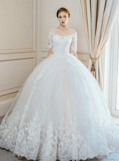Champagne Ball Gown Tulle Lace Short Sleeve Wedding Dress With Long Train