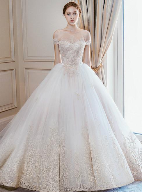 Champagne Tulle Appliques Cold Shoulder Backless Wedding Dress