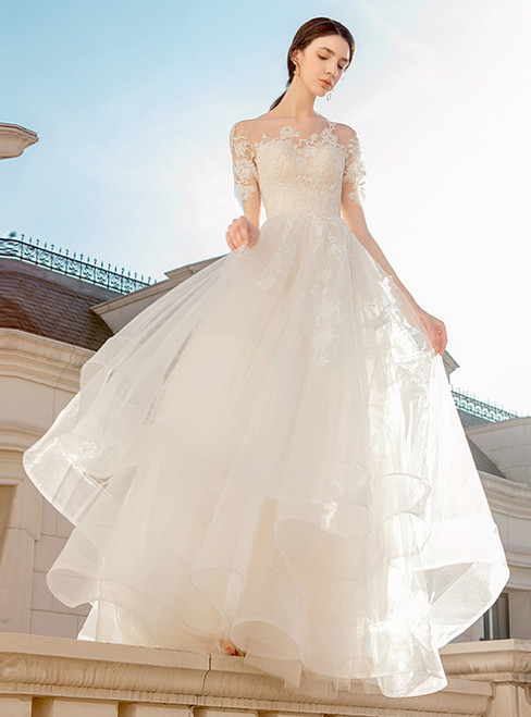 Champagne Tulle Lace Appliques Short Sleeve Long Wedding Dress