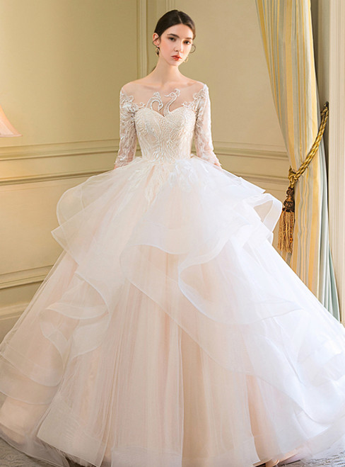 Champagne Tulle Appliques Half Sleeve Backless Wedding Dress
