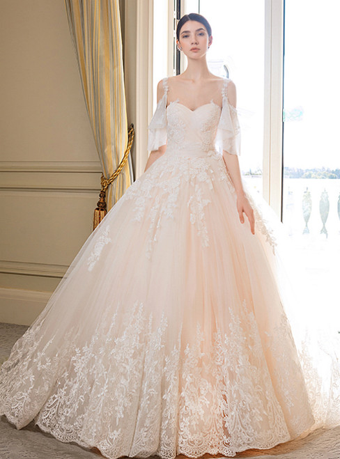 Champagne Ball Gown Tulle Lace Straps Backless Wedding Dress