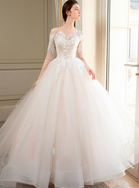 Champagne Tulle Appliques Short Sleeve Wedding Dress With Long Train