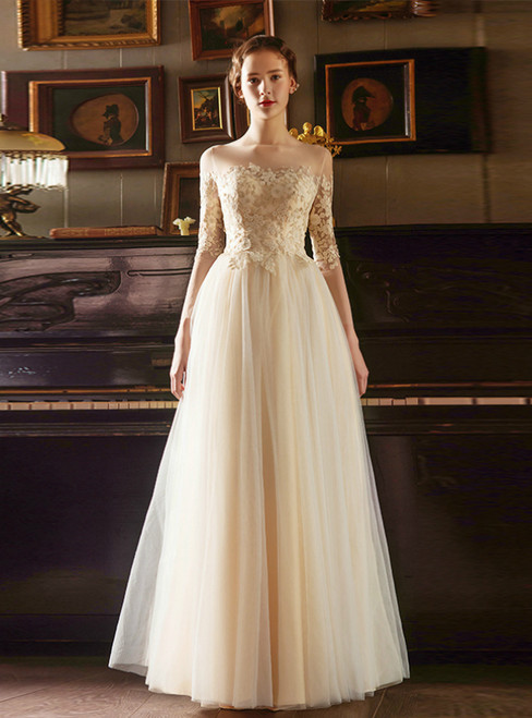 A-Line Simple Gold Appliques Embroidery Long Sleeve Wedding Dress