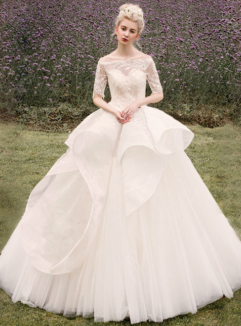 Champagne Tulle Lace Appliques Off The Shoulder Wedding Dress