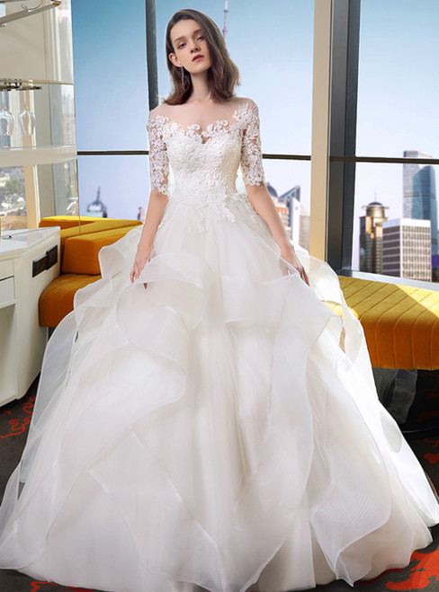 White Ball Gown Scoop Tulle Lace Short Sleeve Wedding Dress