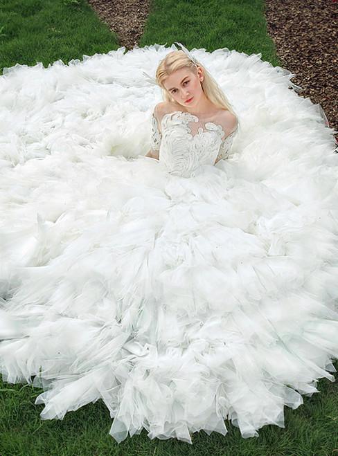 White Ball Gown Short Sleeve Appliques Long Train Wedding Dress