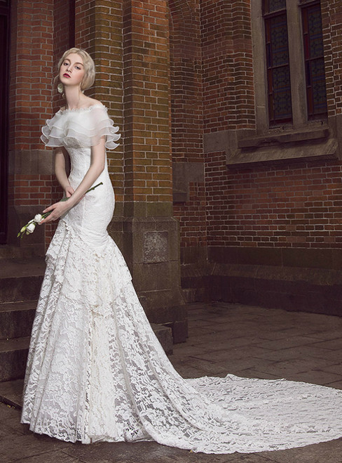 White Lace Mermaid Off The Shoulder Wedding Dress With Train