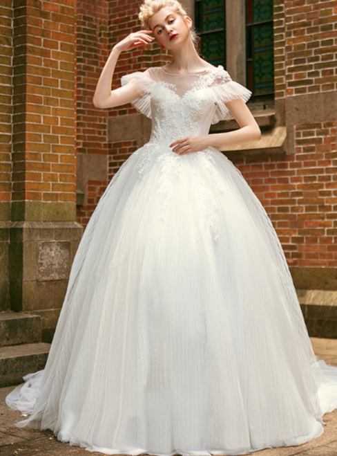 White Ball Gown Tulle Appliques Cap Sleeve Pleats Wedding Dress
