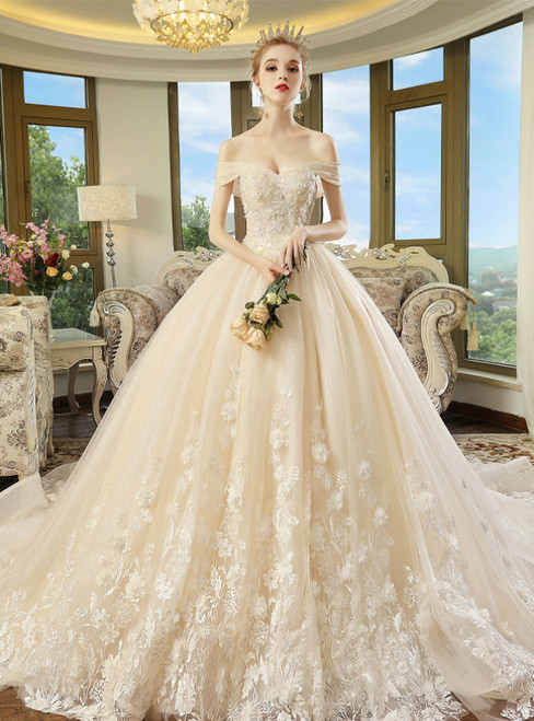 Champagne Tulle Appliques Off The Shoulder With Long Train Wedding Dress