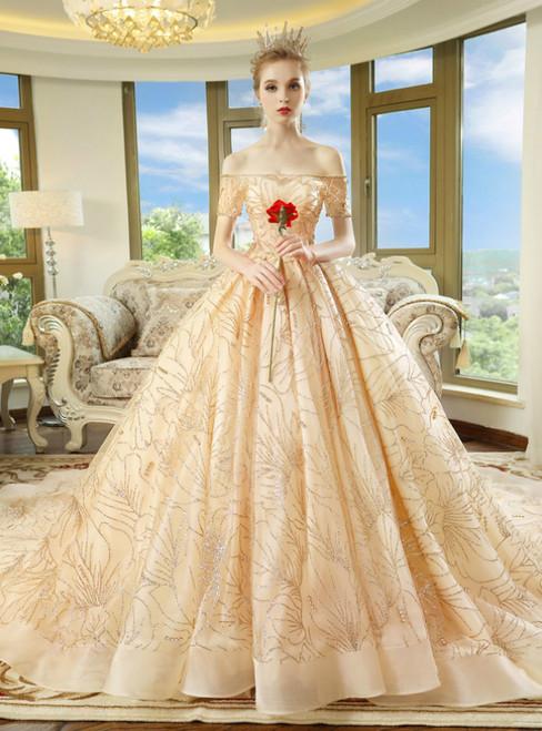 Champagne Tulle Sequins Off The Shoulder Short Sleeve Wedding Dress