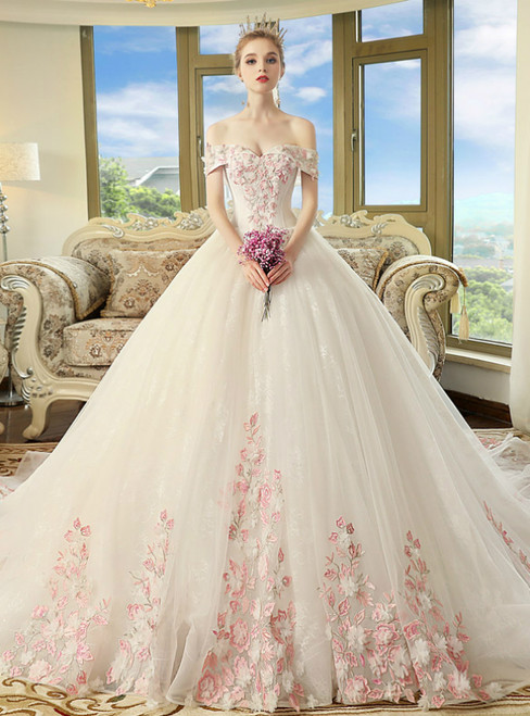 White Tulle Pink Appliques Off The Shoulder Wedding Dress With Long Train