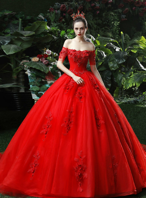 Red Ball Gown Tulle Appliques Off The Shoulder Short Sleeve Wedding