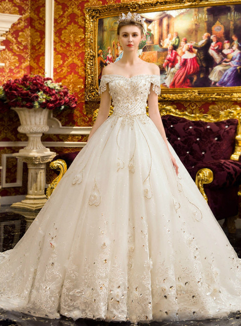 White Ball Gown Tulle Lace Appliques Off Shoulder Wedding Dress With Crystal