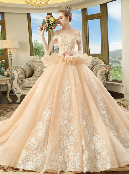 Champagne Lace Appliques Off The Shoulder With Train Wedding Dress