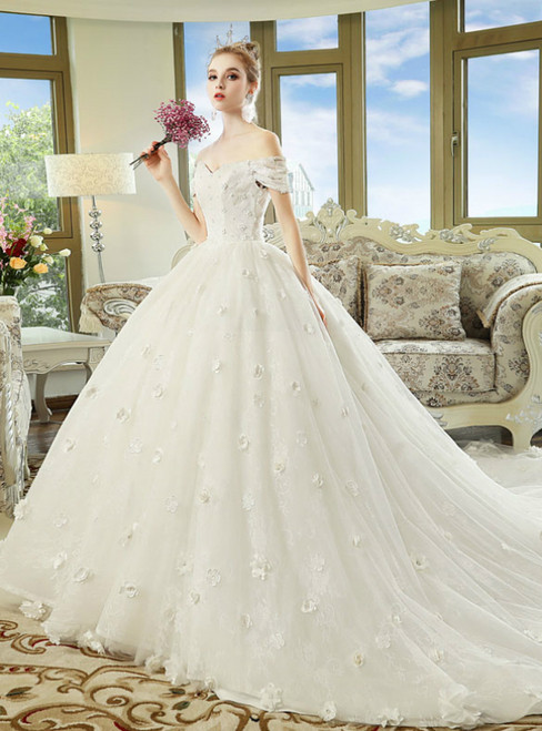 White Ball Gown Off The Shoulder Appliques Wedding Dress