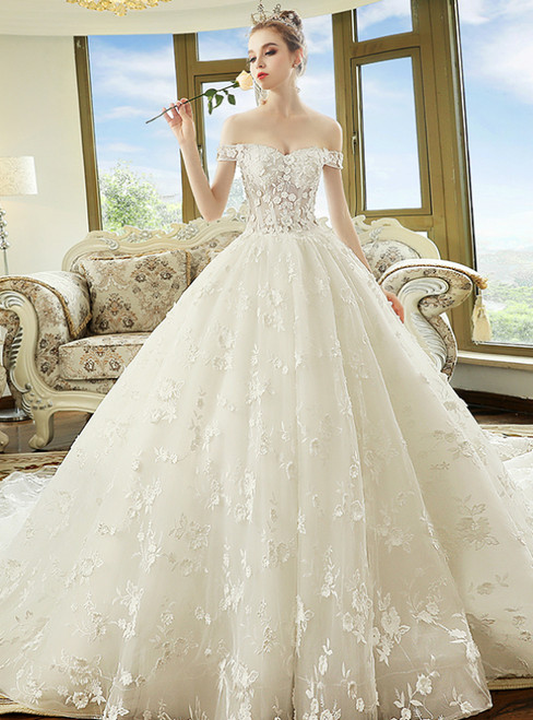 Amazing White Ball Gown Tulle Appliques Off The Shoulder Wedding Dress