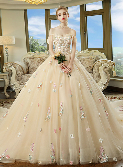 Champagne Tulle Colorful  Appliques Off The Shoulder Wedding Dress