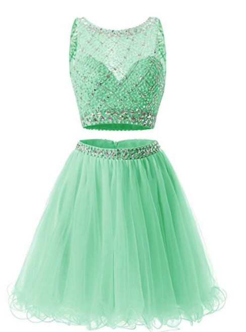 Green Short Tulle Two Piece Tulle Beading Homecoming Dress
