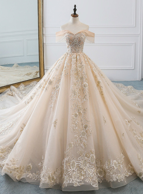 Champagne Ball Gown Tulle Lace Appliques Off The Shoulder Haute Couture Wedding Dress
