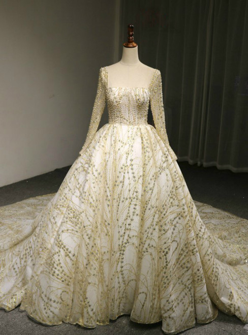 Ball Gown Tulle Gold Sequins Lace Long Sleeve Backless Wedding Dress With Long Train