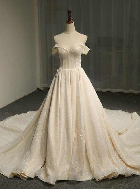 Champange Ball Gown Tulle Off The Shoulder Backless Wedding Dress
