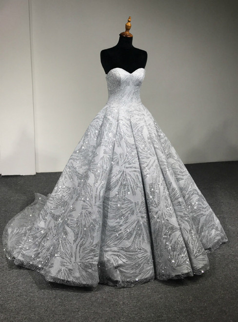 Silver Ball Gown Sweetheart Neck Floor Length Wedding Dress