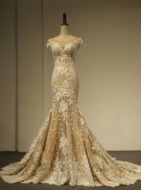 Champange Tulle Mermaid Sequins Lace Appliques Cap Sleeve Wedding Dress