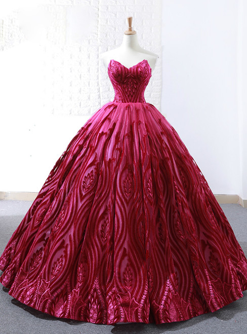 Red Ball Gown Lace Embroidery Sweetheart Floor Length Wedding Dress