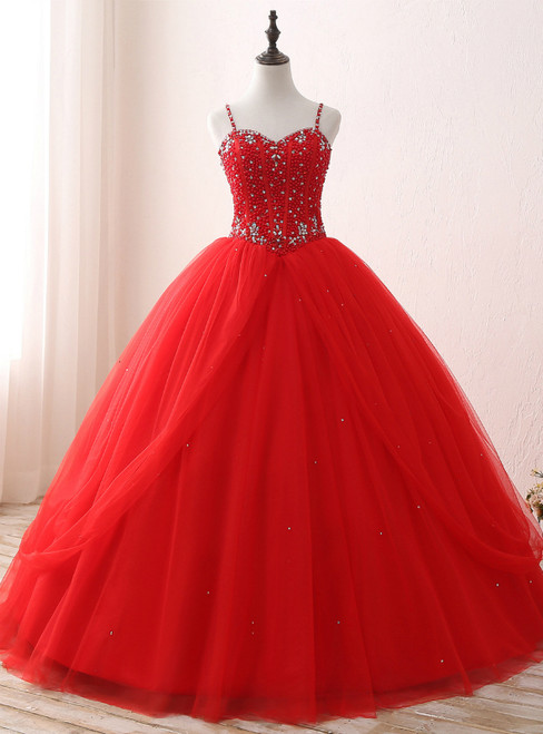 Red Ball Gown Spaghetti Straps Tulle Sweet 16 Dresses With Beading