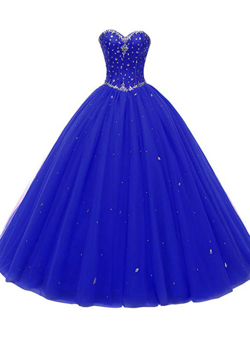 Blue Ball Gown Sweetheart Neck 16 Birthday Dress With Crystal