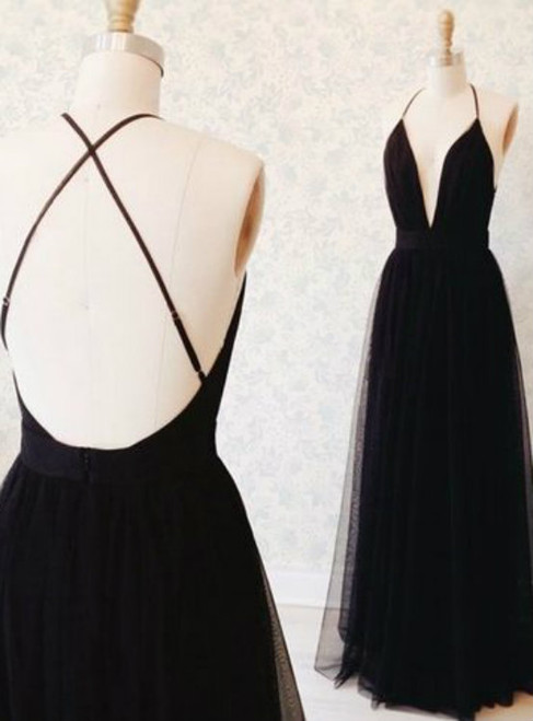 Black Spaghetti Straps Prom Dress Open Back Graduation Dresses