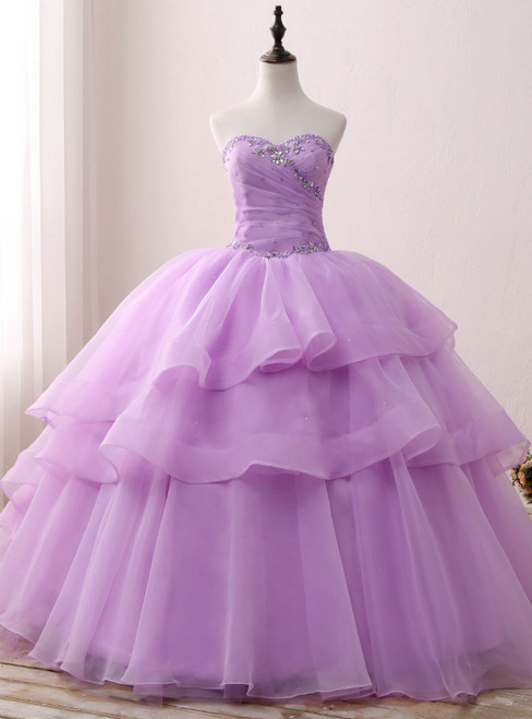 Purple Ball Gown Organza Sweetheart neck Sweet 15 Dresss With Crystal