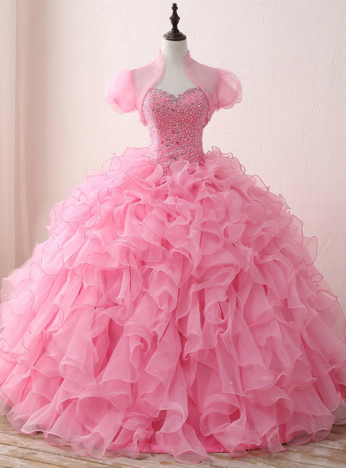 Pink Ball Gown Organza Sweetheart Neck Quinceanera Dresses With Sequins