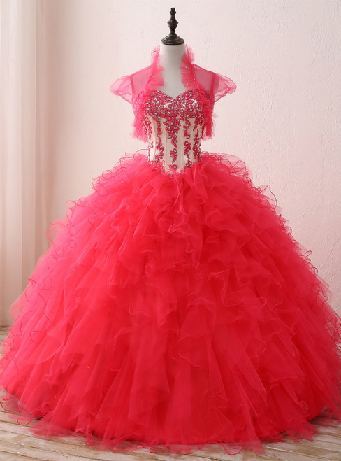 Red Ball Gown Sweetheart Neck Appliques Organza 16 Birthday Dress