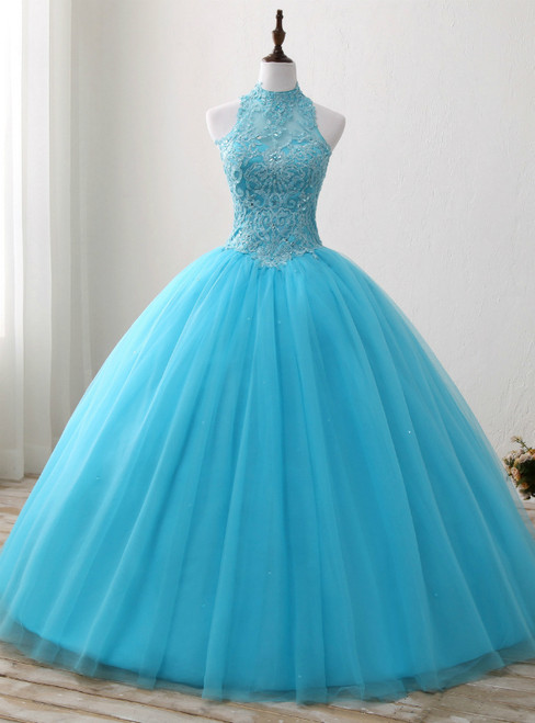Blue Rulle Lace Appliques High Neck Backless Sweet 15 Dress
